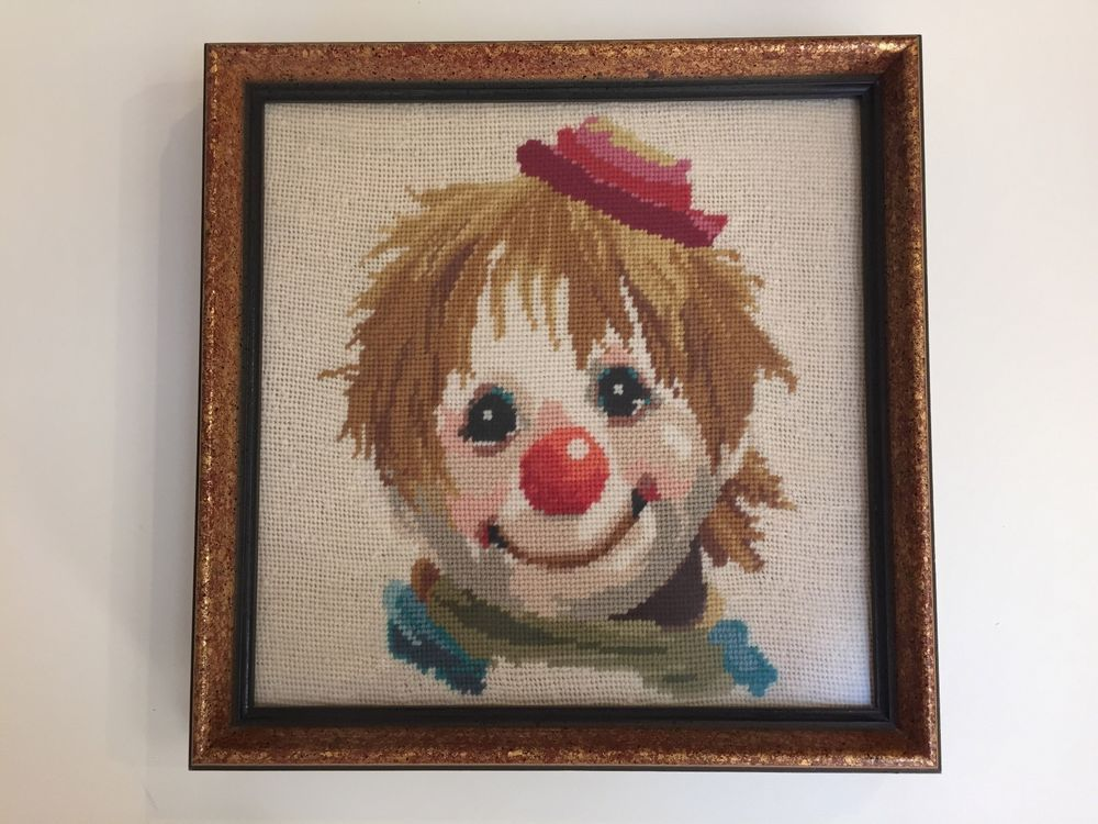Vintage Hand Made Needlepoint Artwork Clown with beautiful wooden ...