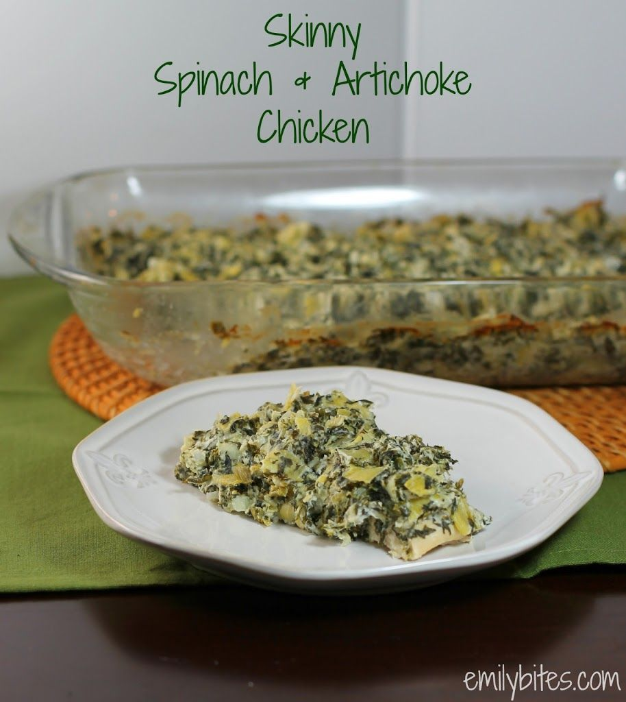 Skinny Spinach & Artichoke Chicken - Emily Bites - never tried spinach artichoke dip but looks yummy