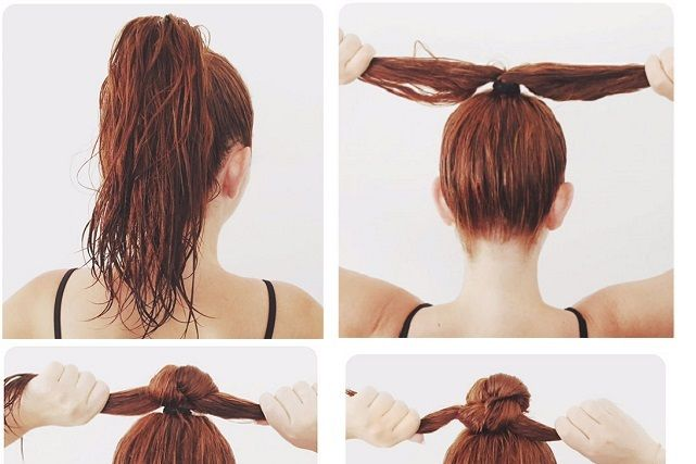 An Easy Wet Top Knot Cute Simple Hairstyles Hair Styles Gym Hairstyles