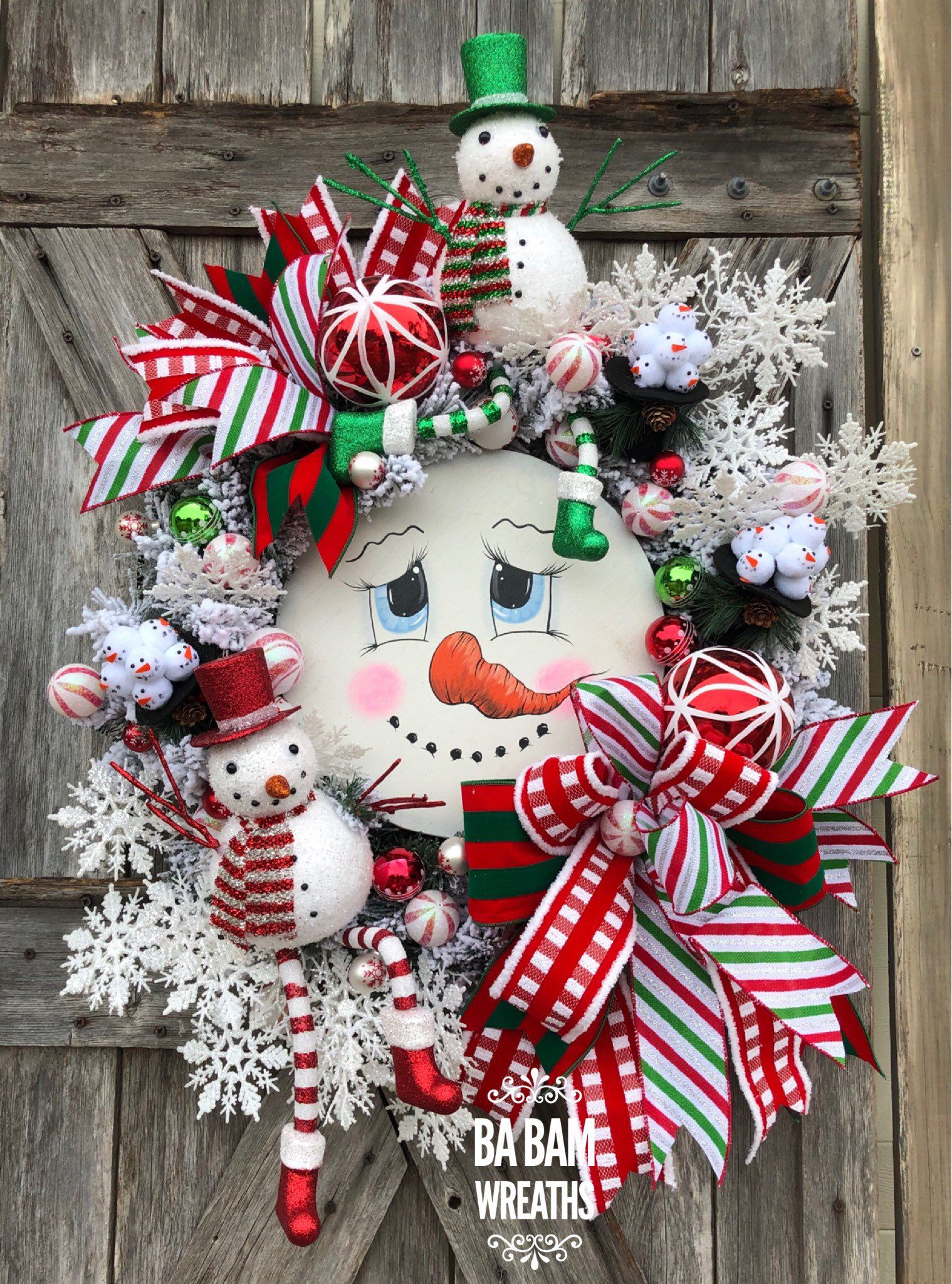 Ba Bam Wreaths Snowman Wreath Snowman Decor Christmas Wreath Traditional Chr Paper Christmas Decorations Christmas Crafts Decorations Christmas Decorations