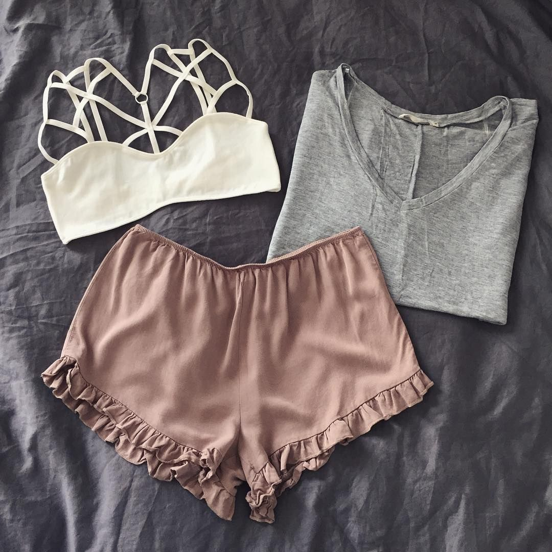 26842c5ae2 Neutrals   most coveted.  shorts  bralette  tee  tautmun