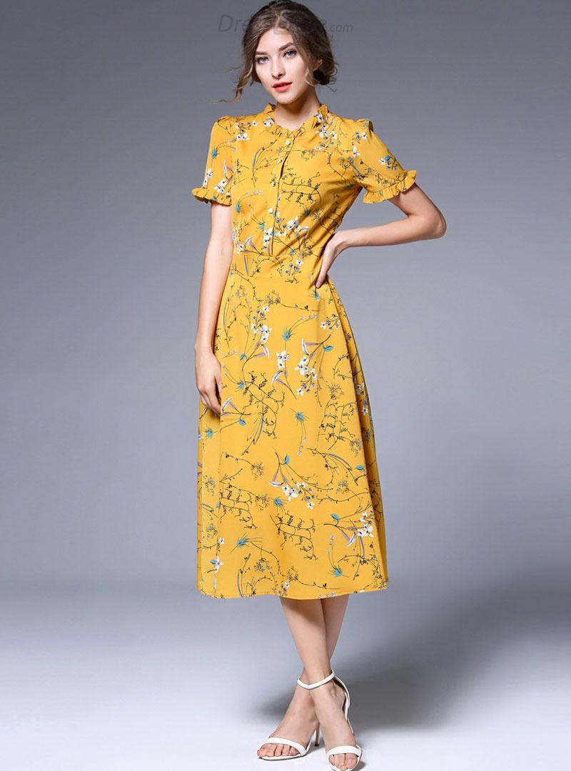 Buy yellow chiffon floral print falbala skater dress with