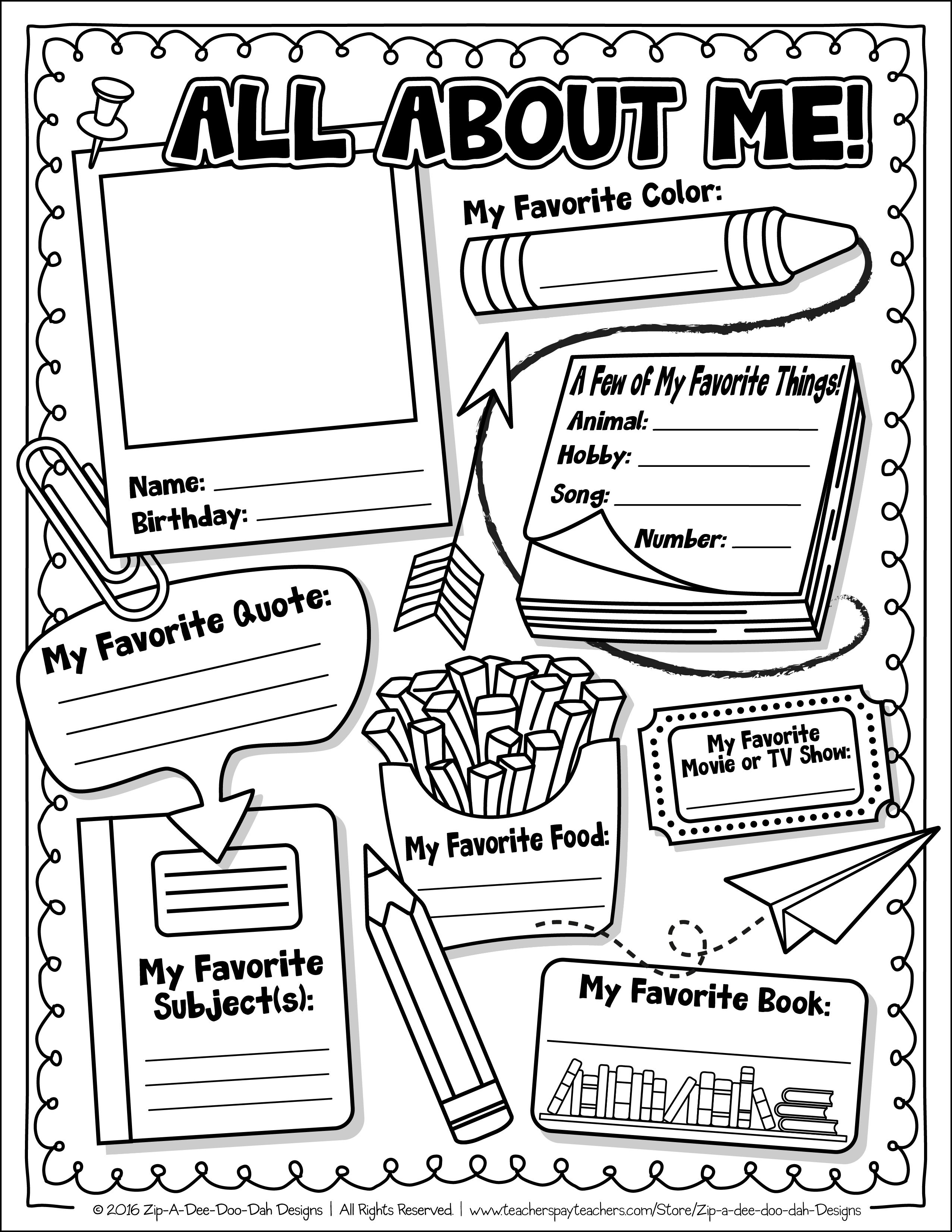 Free All About Me Activity Worksheet Template Zip A Dee