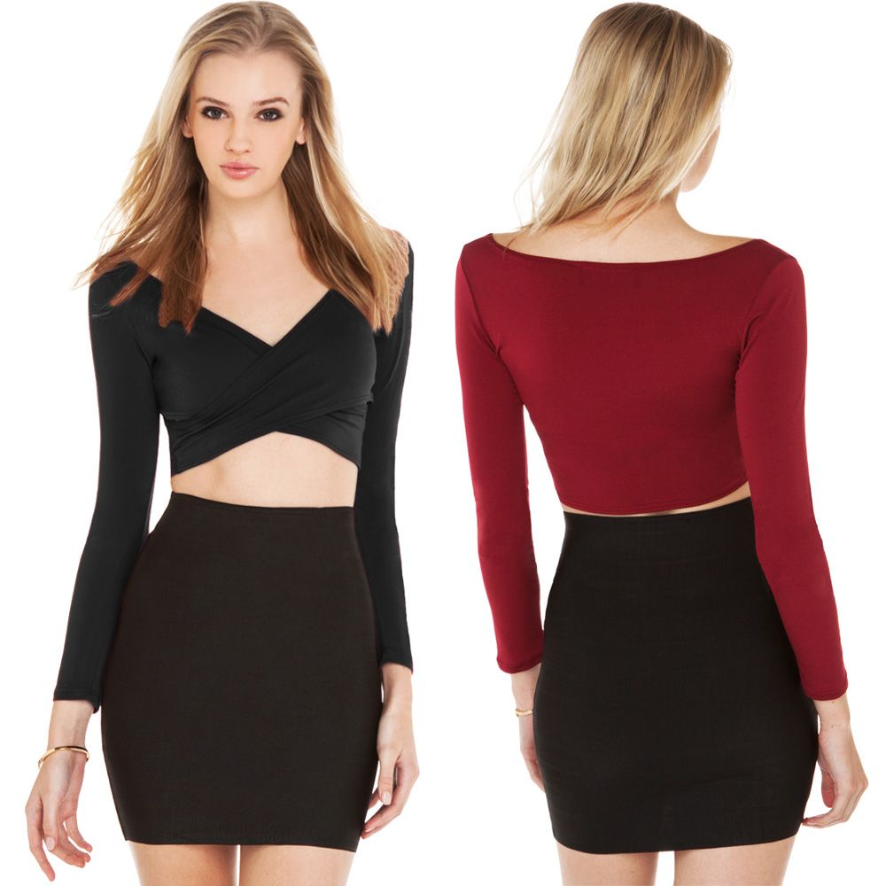 58b4fd42762ea7 New Fashion Women Crop Top Plunge V Neck Cross Front Long Sleeve Short T- Shirt Clubwear Black Burgundy
