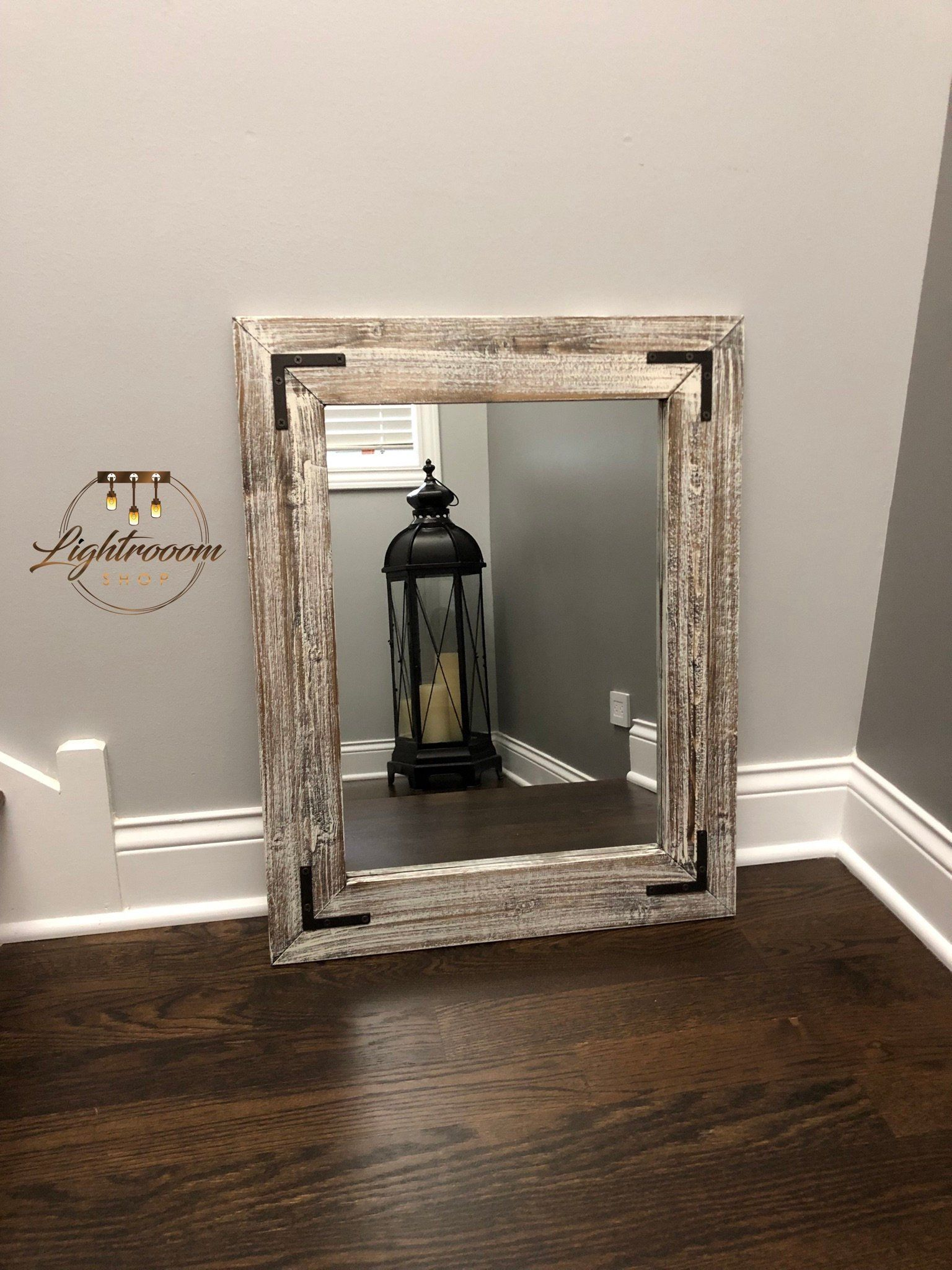 Antique White Bathroom Wood Mirror Farmhouse Decor Rustic Mirrors Wall Floor Mirrors Framed Mirror Vintage Vintage Mirror Wall Rustic Mirrors Wood Mirror