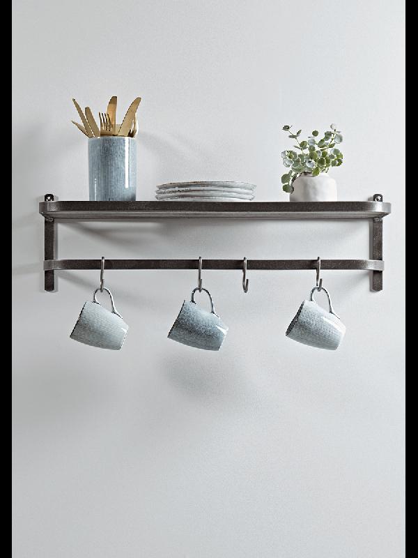 Industrial Hook Rack Wooden Shelves Kitchen Metal Shelves Hook