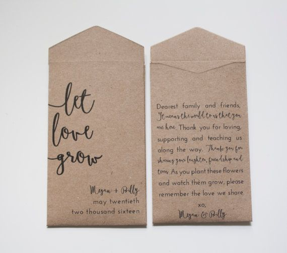 These rustic seed packet wedding favors are our best seller! They are so simple and lovely. Megmichelle seed packets are completely handmade. These arent pre-made packets. We literally design, print, cut, glue, assemble and inspect each one ourselves. Each packet is handled with love and