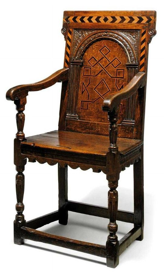 A Late Elizabethan Oak And Inlaid Armchair Late 16th Century Yorkshire The Back Panel Inlaid With Geometri Renaissance Furniture Armchair English Furniture