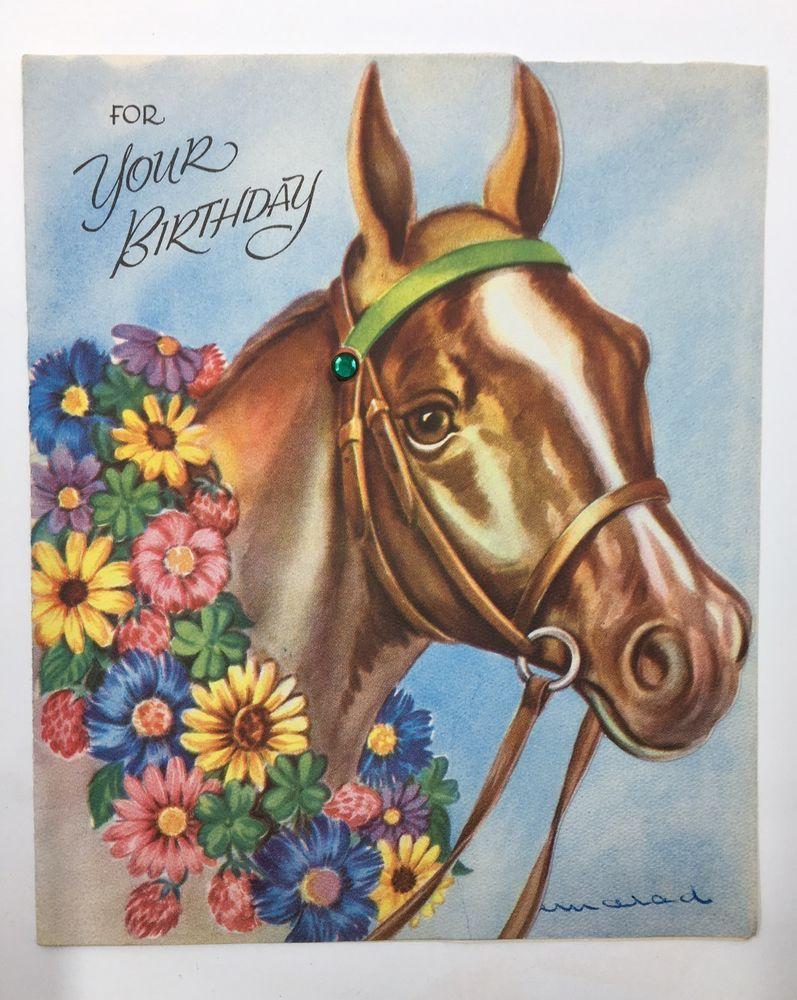 Vintage Horse Birthday Card Vintage Greeting Cards Horse Birthday Vintage Cards