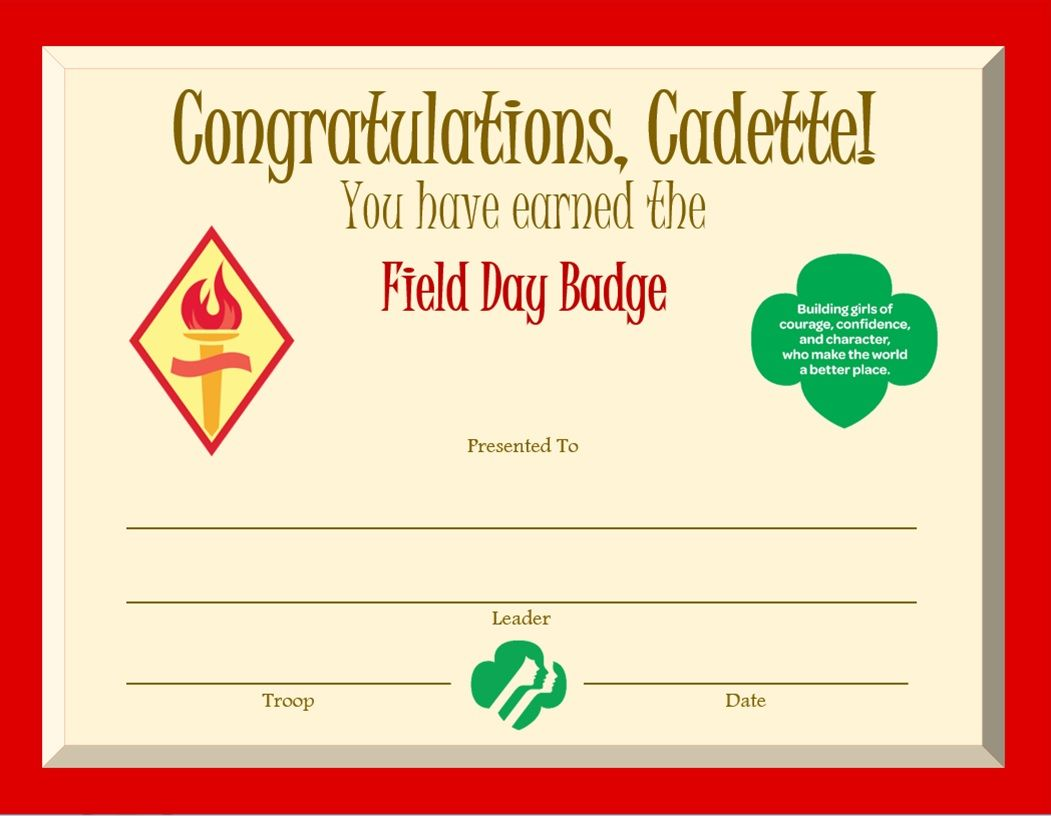 Cadette Field Day Badge Certificate