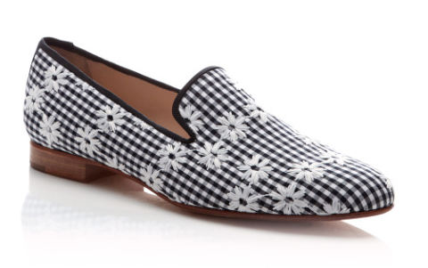 Pertini. Daisy-Embroidered Cotton Loafers
