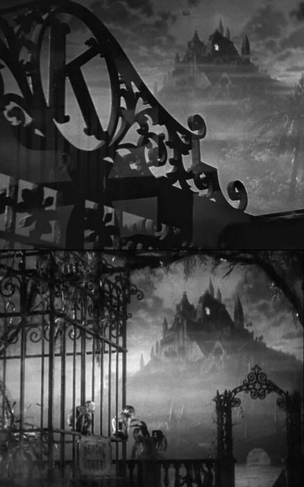 """From Citizen Kane's (1941, dir. Orson Welles) opening sequence, the famous gothic-style shot of Xanadu (""the costliest monument of a man to himself""), the home of newspaper magnate Charles Foster Kane."" - http://oldhollywood.tumblr.com"