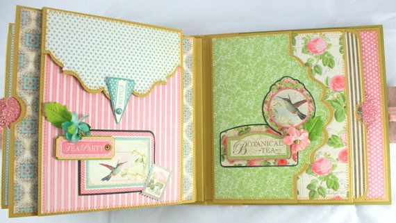 8x8 Botanical Tea MiniAlbum PDF Tutorial by SoMuchScrap on Etsy