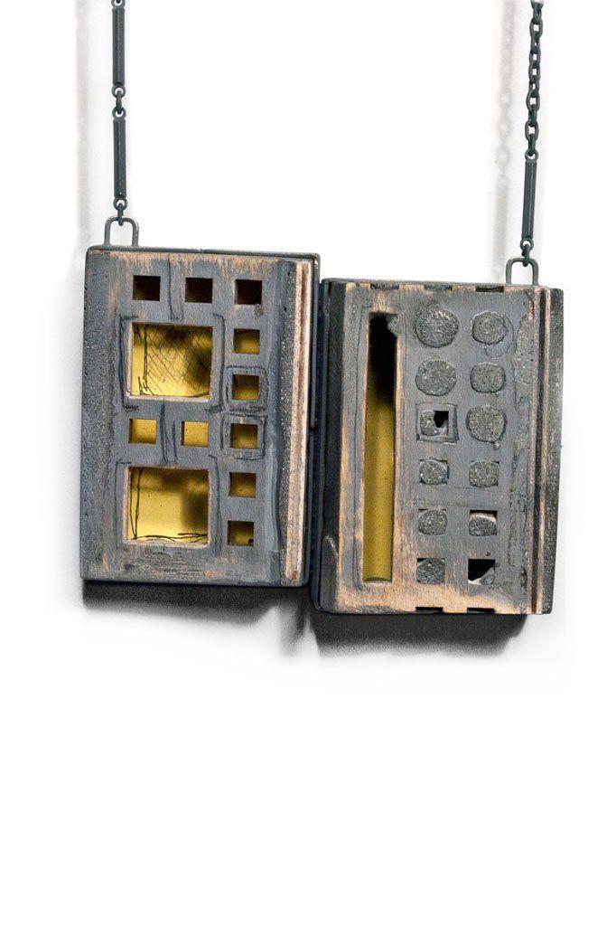 Demitra Thomloudis - SDSU (San Diego State University) San Diego, USA - necklaces, Account set #3, 2013, copper, brass, found wooden object, found brass pull, string, enamel