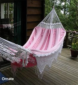 Medium image of ornate brazilian hammock with crocheted fringes and ends