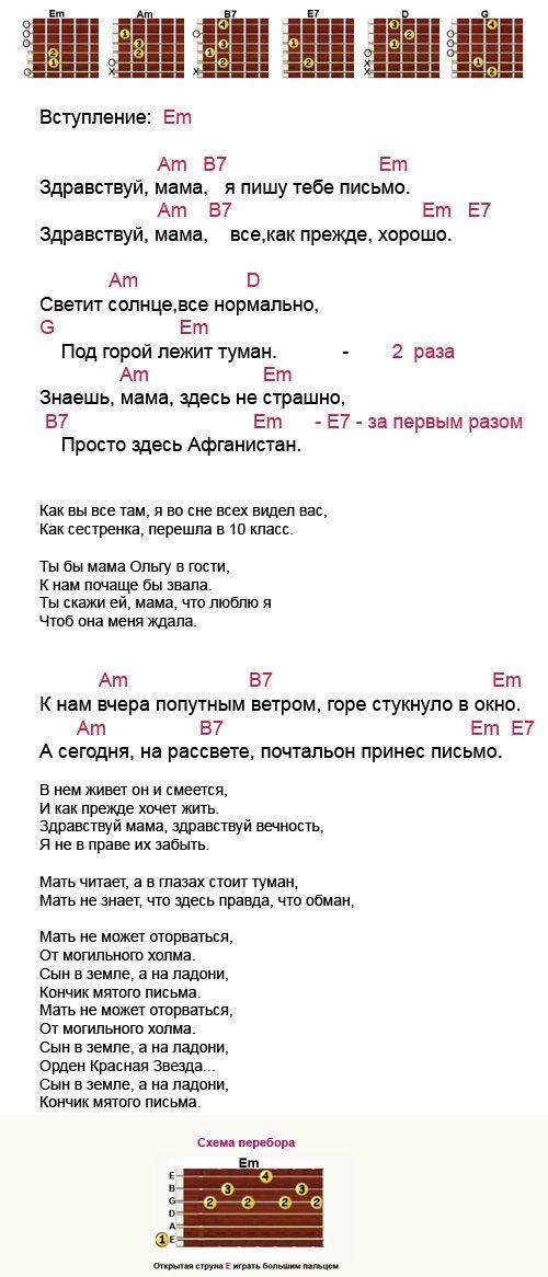Zdravstvuj Mama Akkordy Pesni Mama Teksty