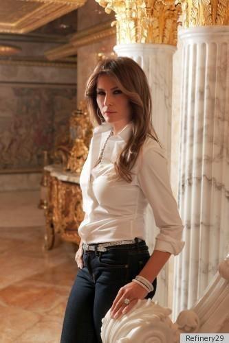 306ffb087649d8 Melania Trump- always classy, the white blouse … | Melania Trump ...