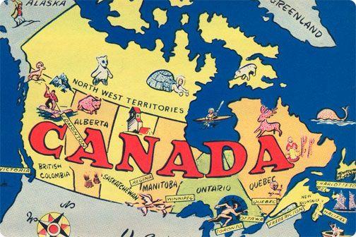 Canada Map Postcard - 1960 | Canadian culture, Retro map ...