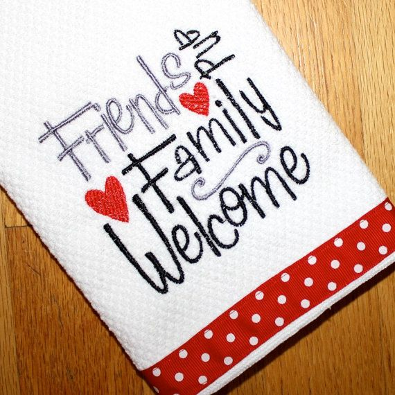 Embroidered Gift Kitchen Dish Towel White Red Black Polka Dot. Friends U0026  Family Welcome.