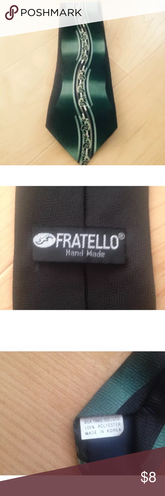 """Fratello Tie, Retro Funky Green Gold Stripe, 57"""" • Awesome pre  owned Fratello  men's tie without tags.  • Retro funky design in a green gold, stripe pattern. • 100% polyester for easy care.  • 57"""" long, width at widest point is 3.5"""".  • Excellent condition, no defects.  • Smoke free home. • No holes Stains or Tears Fratello Accessories Ties"""