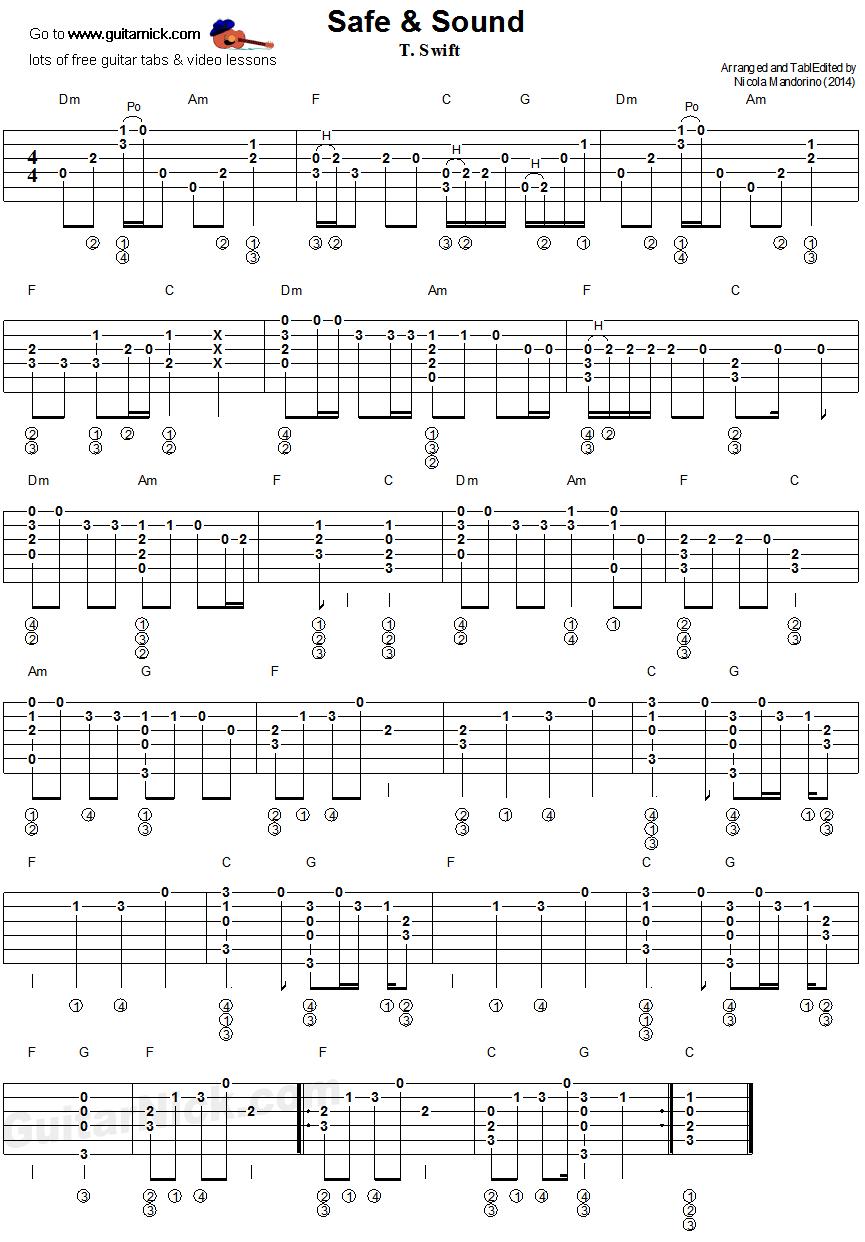 Safe & Sound: fingerstyle guitar tab | tab | Pinterest | Guitars ...