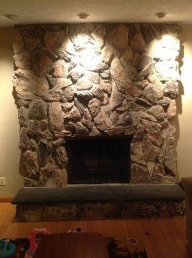 Admirable Lava Rock Fireplace Makeover Houzz Diy In 2019 Stone Interior Design Ideas Clesiryabchikinfo