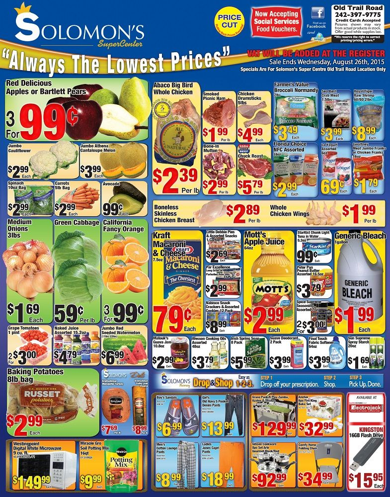 Back To School Specials @ Solomon's Super Center, Always The Lowest Prices!!