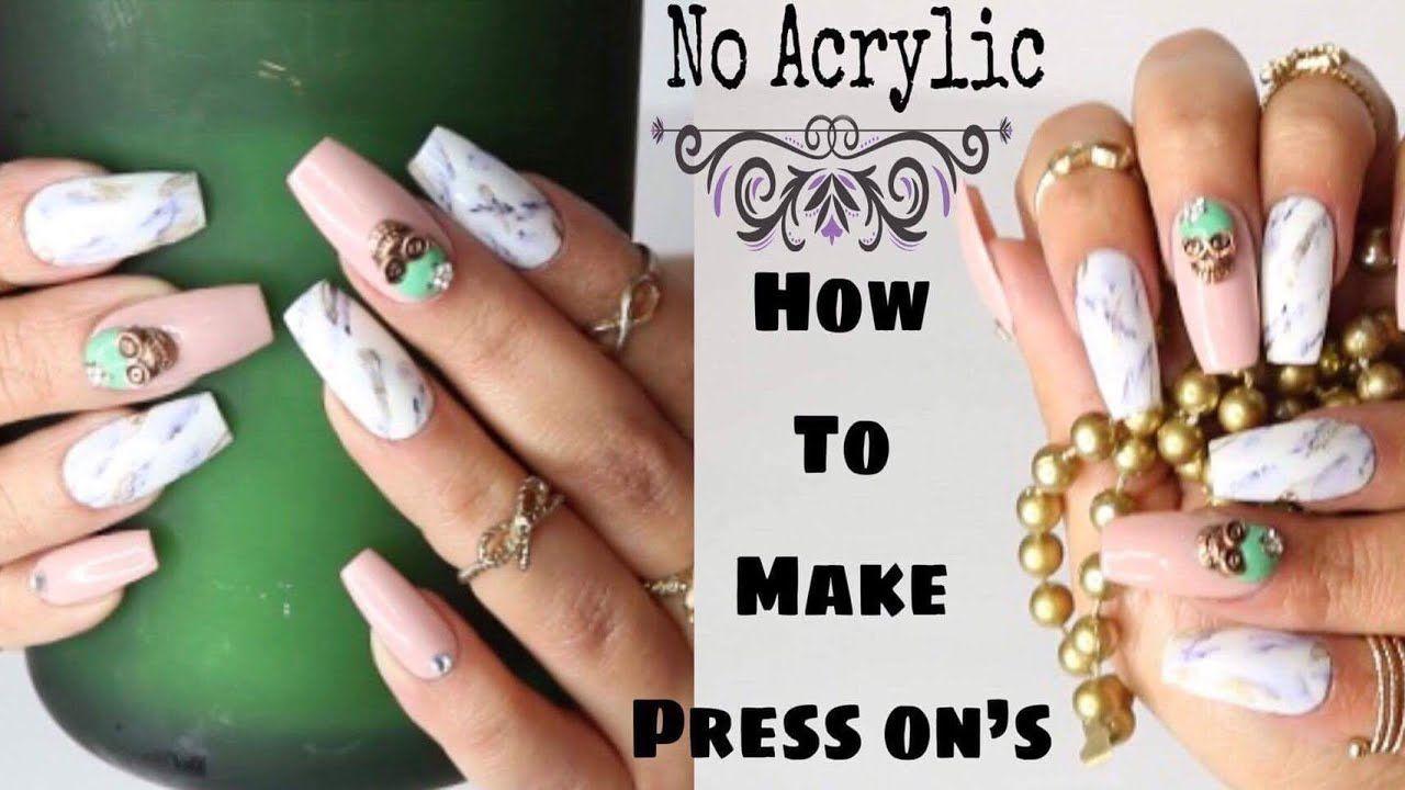 Diy Easy Fake Nails How To Make Press On Nails Marble Nail Hack Diy Acrylic Nails Fake Nails Diy Fake Nails