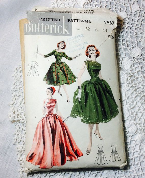 Vintage Evening Gown or Day Dress Pattern Butterick 7618   Fashion ...