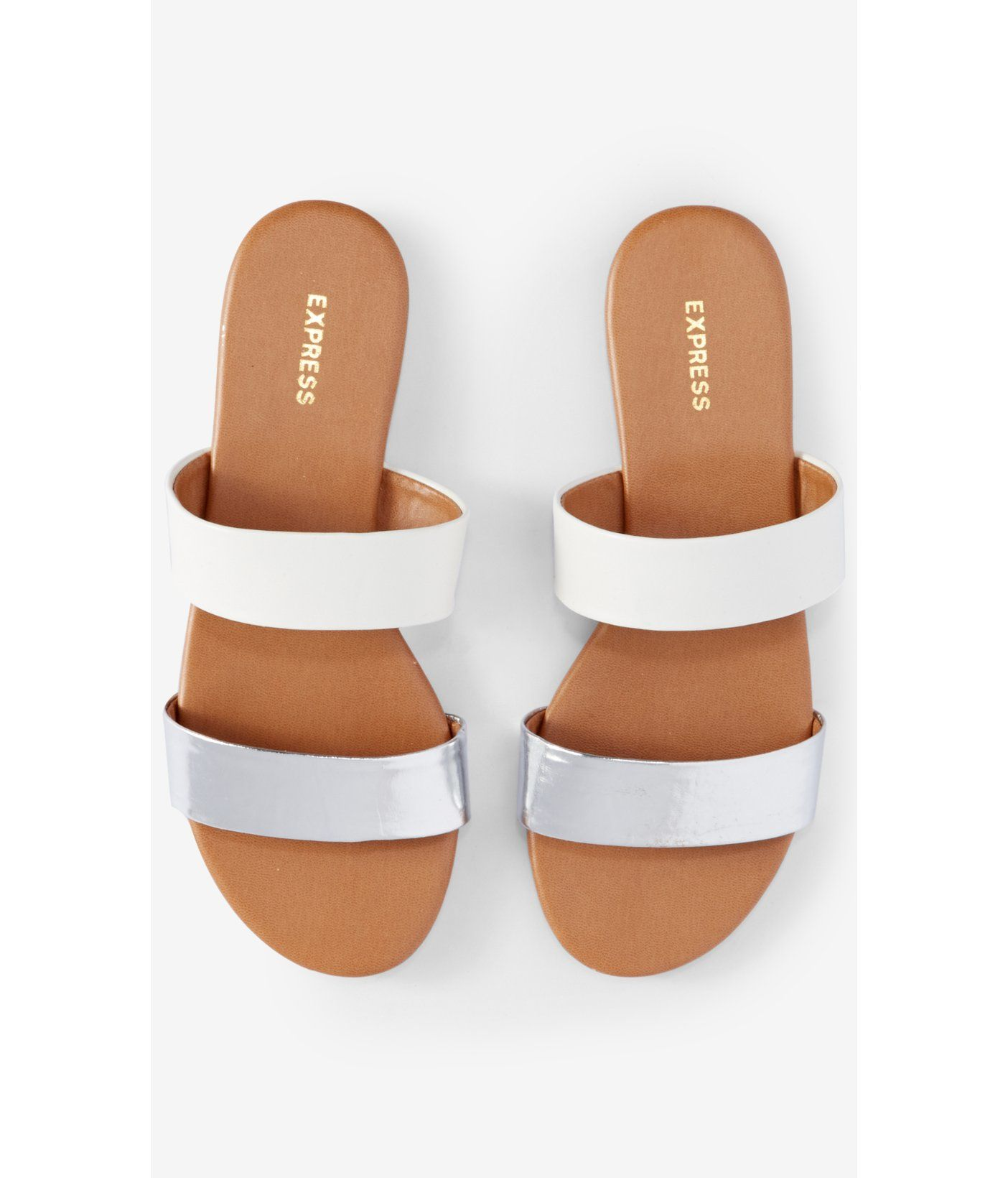 974a31523 Express | two strap slide sandal in metallic & white - purchased ...