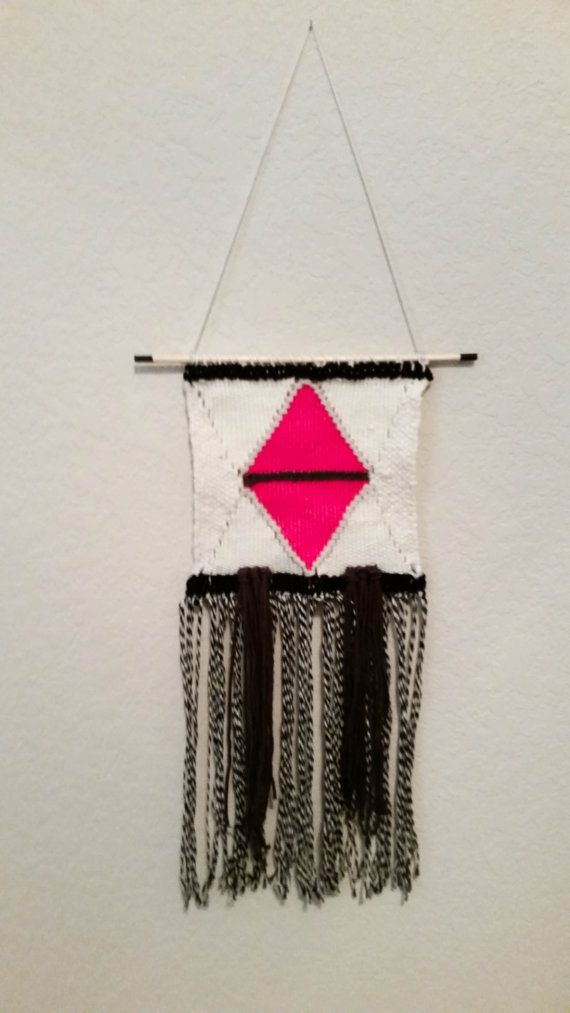 Woven Wall Hanging  Black & Pink 20 x 9 by flynnandthefox on Etsy, $75.00
