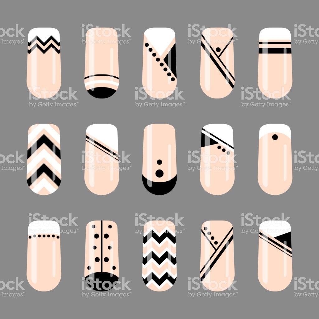 Nail art. Geometric black and white nude design. Nail polish template