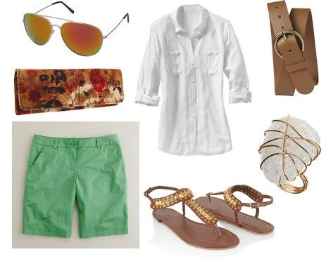 casual spring outfit with mint and brown