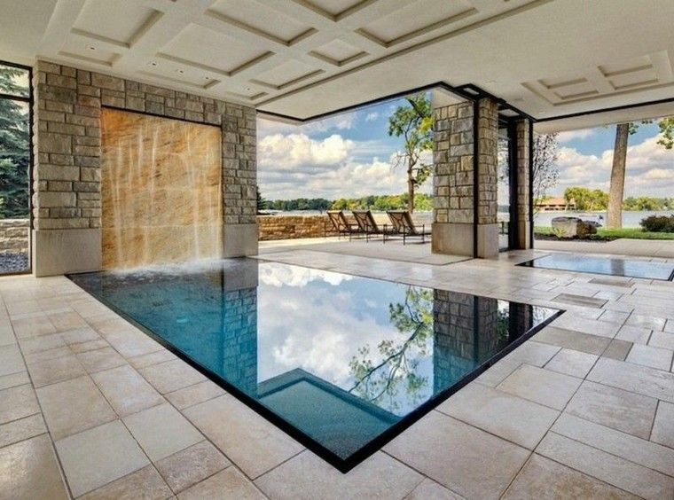 Interior con piscina 50 variantes para refrescar en verano jardines piscina interior - Piscinas interiores climatizadas ...