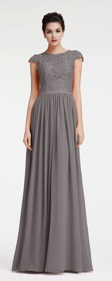 Charcoal Grey Bridesmaid Dresses Cap Sleeves Modest Neutral Styles