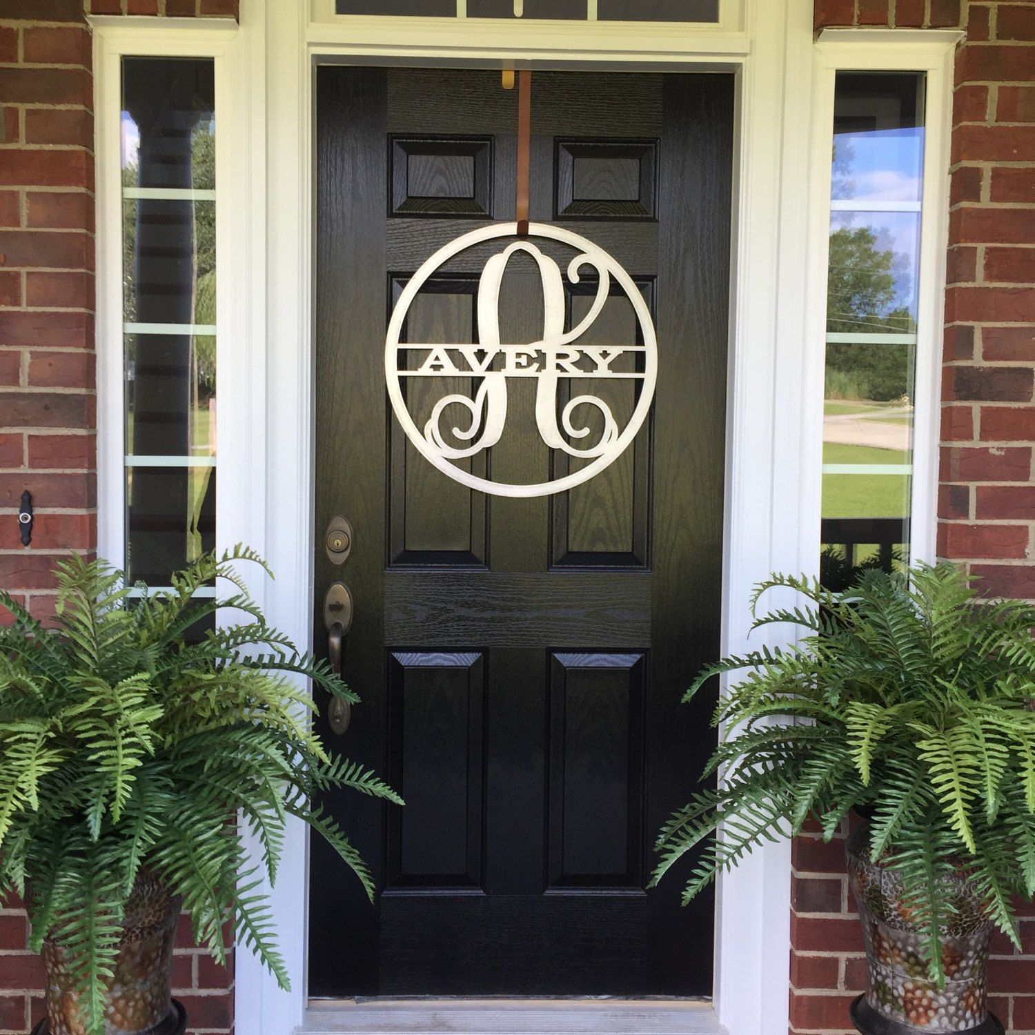 "Outdoor Metal Monogram Letters Split Name Monogram Sign 22"" Monogrammed Wreath Door Hanger"