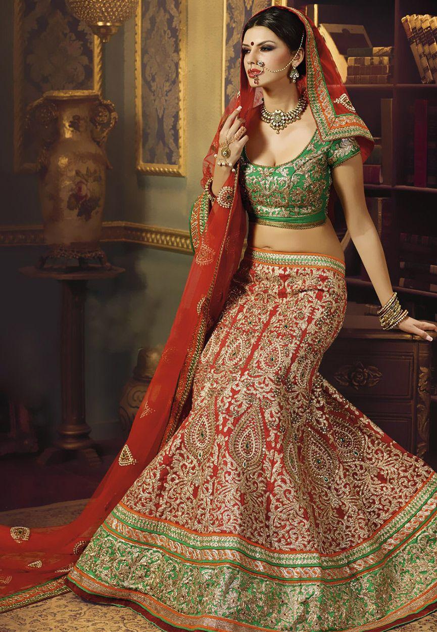 Red art silk lehenga choli with dupatta lwk indian fashion