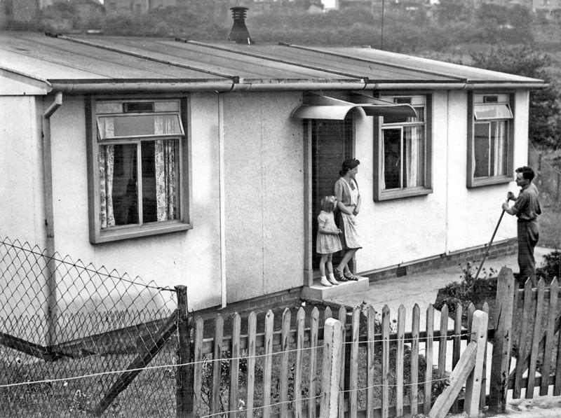 Emergency postwar British housing prefab on Mansfield