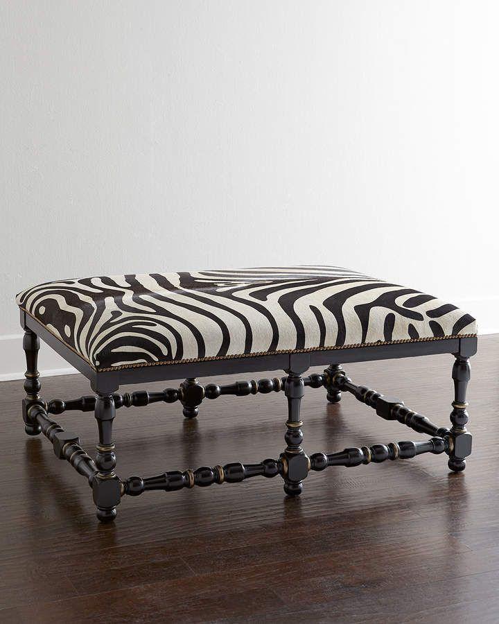 Massoud Zebra Print Hairhide Bench Animal Print Upholstery Furniture Zebra Decor