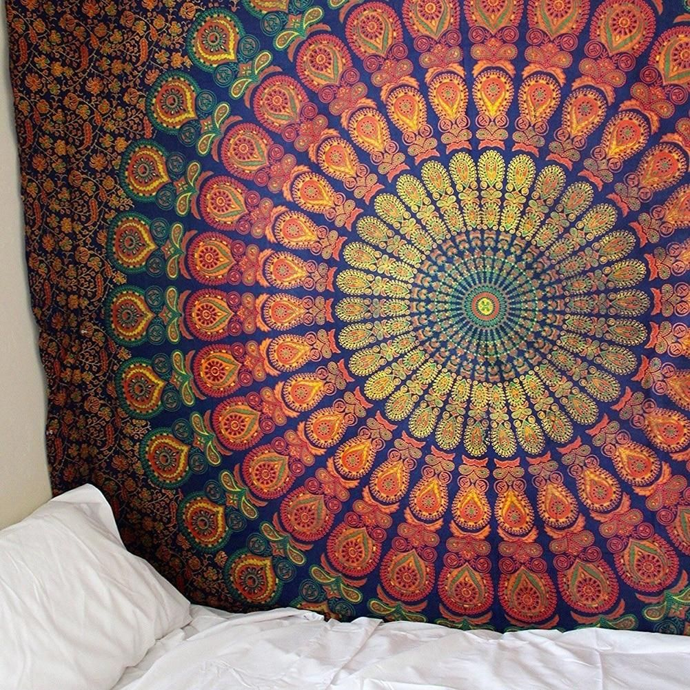 Hanging Tapestry Wall Tropical Leaf Throw Indian Mandala Bedspread Bohemian Mat