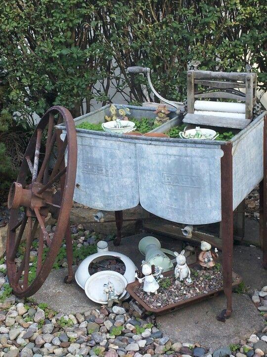 Repurposed old washtub Shabby decor, Decor, Repurposed