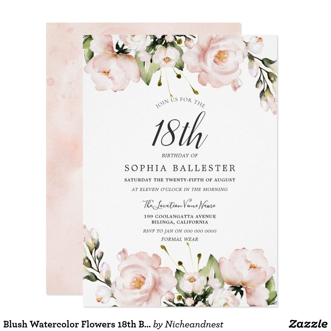 Blush Watercolor Flowers 18th Birthday Party Invitation