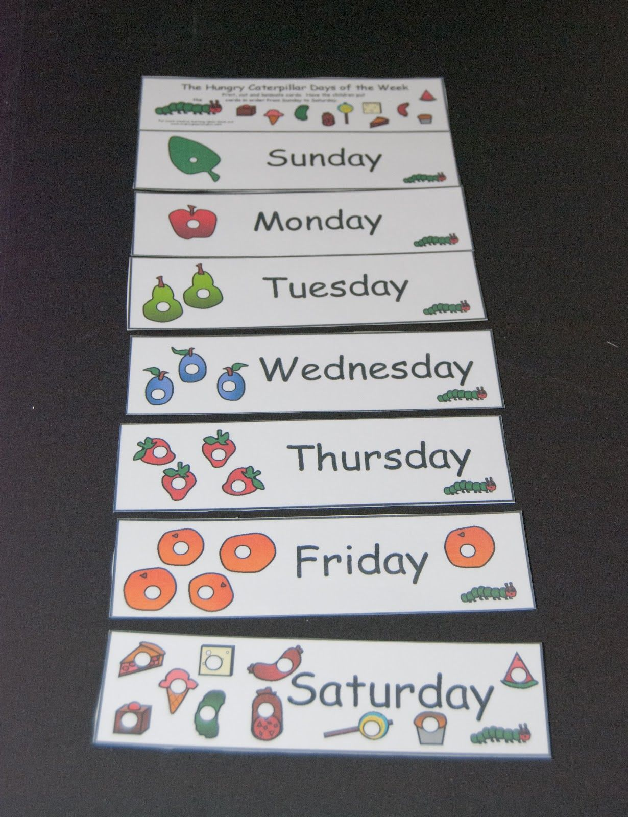 Very Hungry Caterpillar Days Of The Week Chart