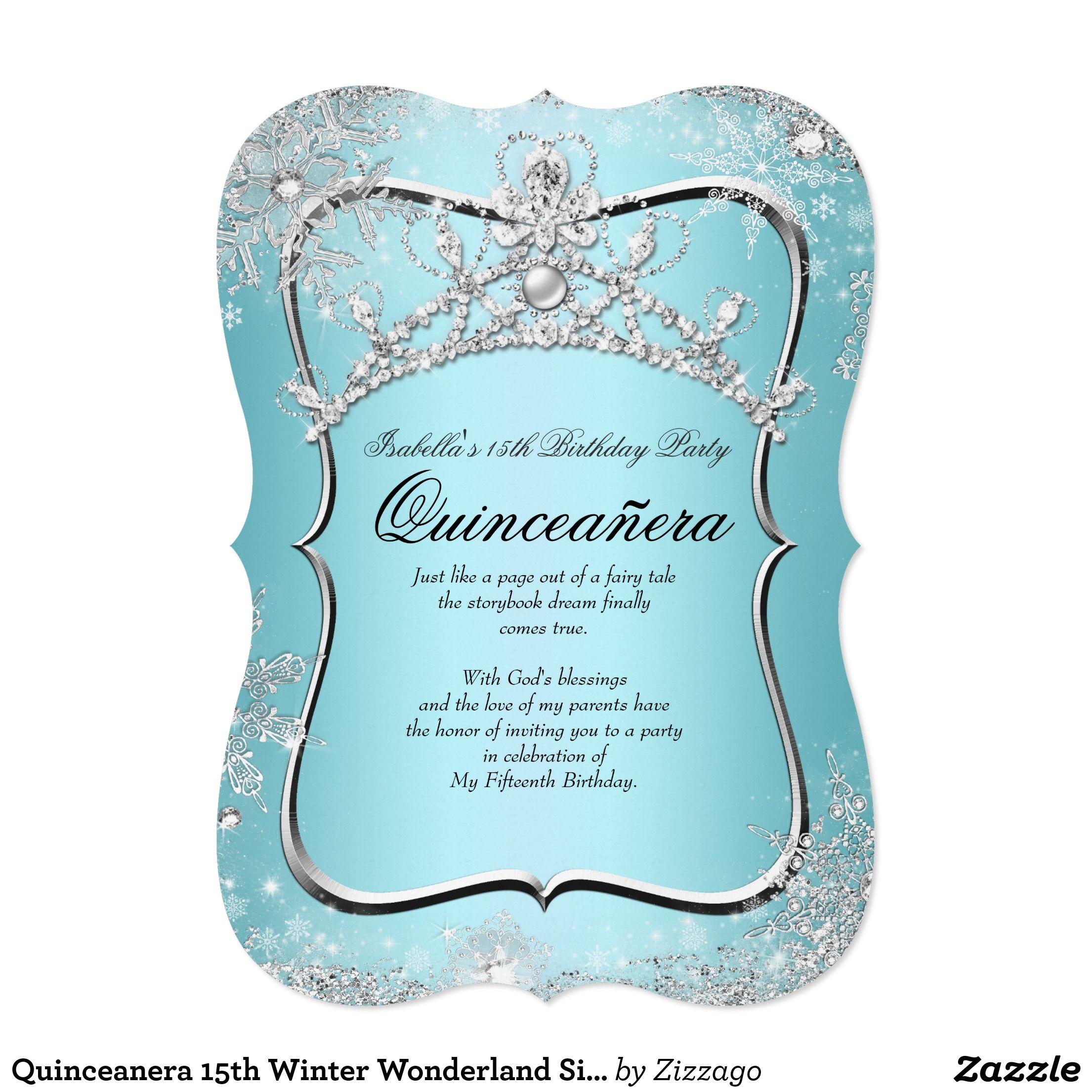 Quinceanera 15th Winter Wonderland Silver Blue Card | XV | Pinterest ...