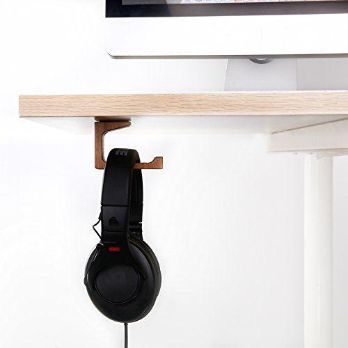 Vogek L Type Headphone Stand Elegant Wooden Under Desk Hanger Universal On