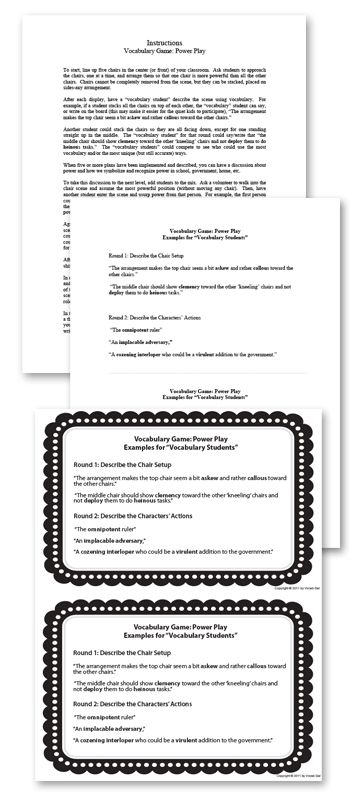 A vocabulary-based drama game for the classroom! Download Power Play!   #Edchat #Vocabulary #Engchat