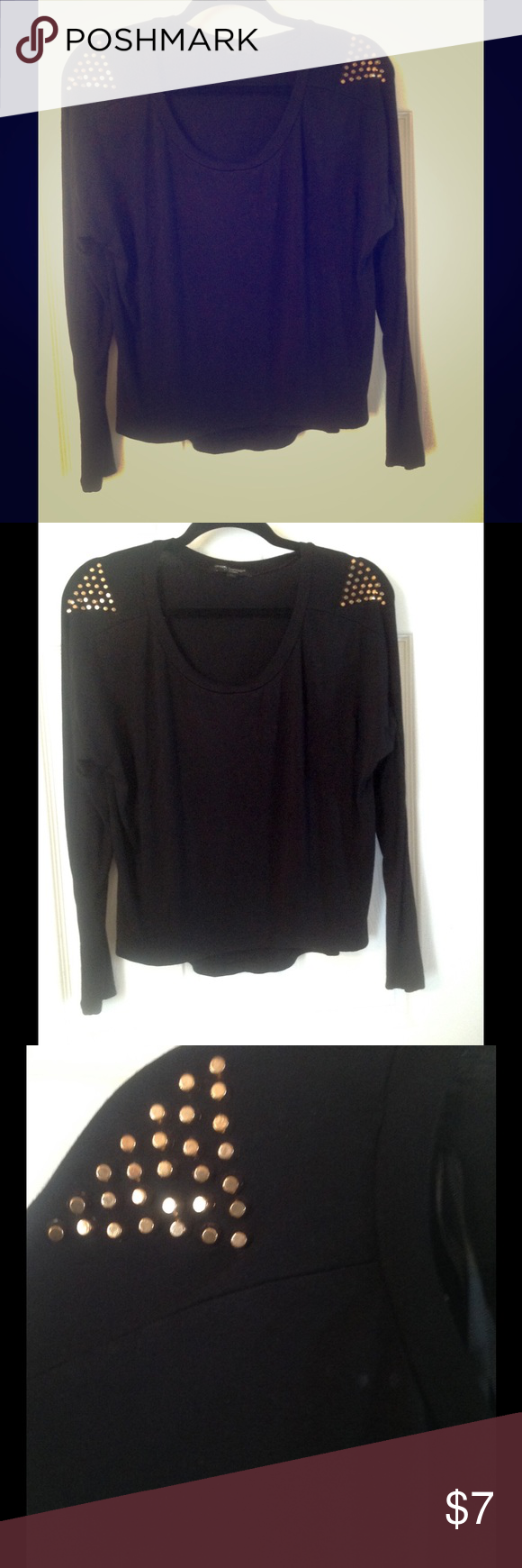 Cute Black top, Size M (Like New) Cute Black top with Gold studs on shoulders. Like New! Tops