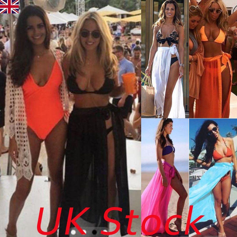85b26e935374a Women Bikini Cover Up Swimwear Sheer Beach Maxi Wrap Skirt Sarong Pareo  Dress UK