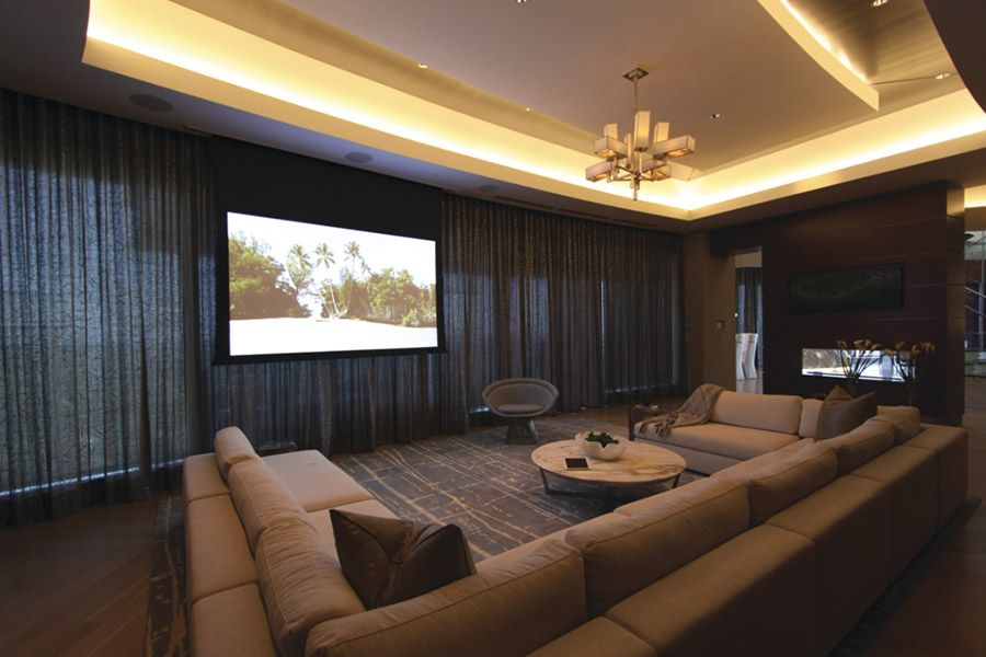 Atlanta Living Room Home Theater Featuring Stewart Filmscreen