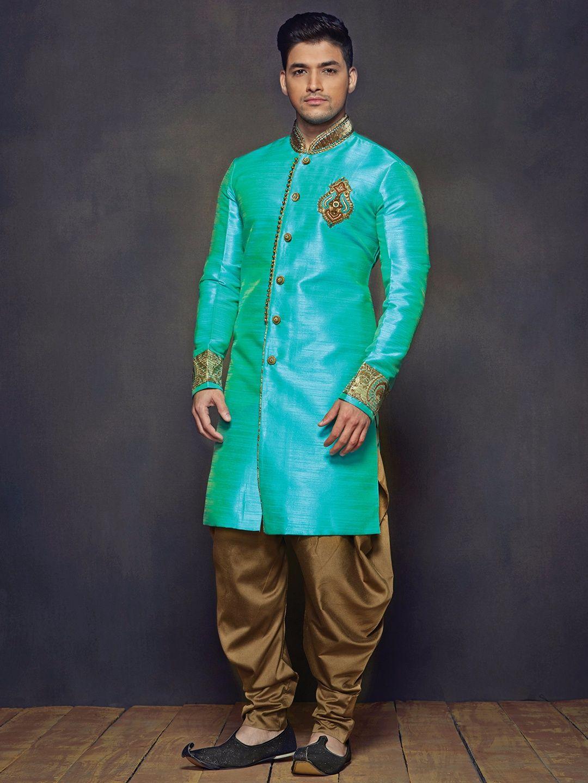Aqua Raw Silk Wedding Wear Men Kurta Suit for diwali. To View more ...